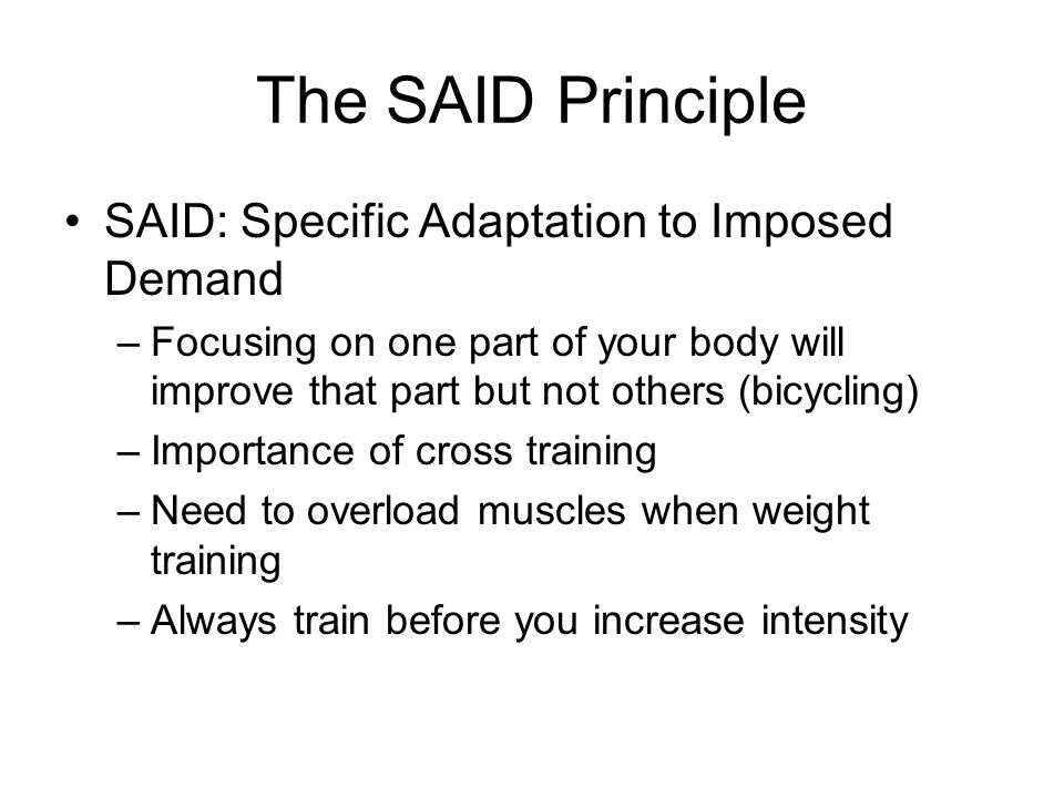 specific adaptation to imposed demands