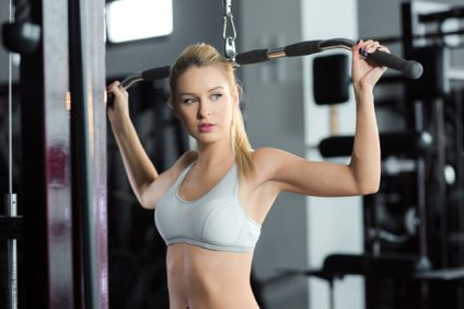 Healthy living magazine: woman in gym